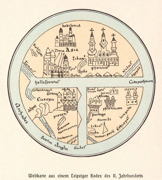 A German map of the world, showing various cities, rivers and seas