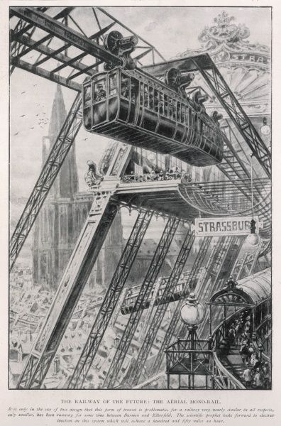 Illustration of an aerial mono rail (note date, 1st April 1905) as a vision of the future for railways. The caption states 'The scientific prophet looks forward to electric traction on this system which will achieve 150 miles per hour&#39