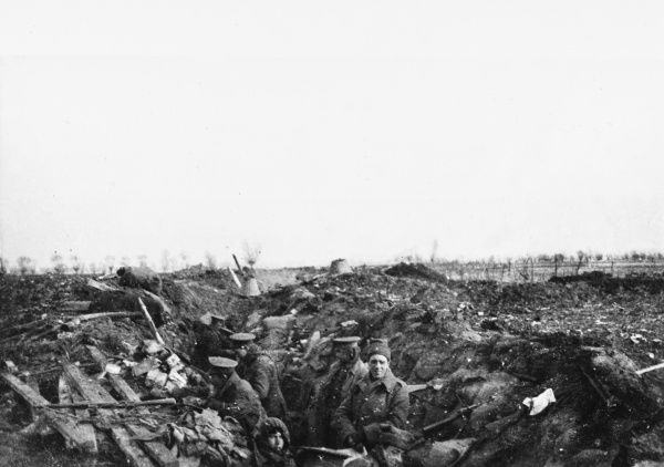 British Front Line, 7th Division, Bridoux-Rouges Bancs Sector. Taken by an officer of the Northumberland Hussars who were on the extreme right of the division on the Western Front in France during World War I in February 1915