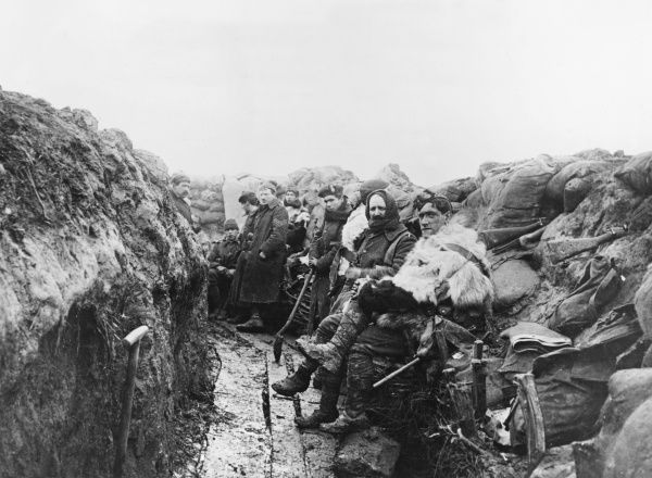 2nd Battalion Royal Scots Fusiliers, 7th Division, in the trenches at La Boutillerie on the Western Front in France during World War I in Winter 1914-1915