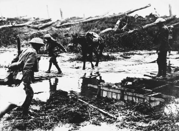 Crossing the Yser Canal at the Irish Guards HQ during the attack on the Western Front in Belgium during World War I on 31st July 1917
