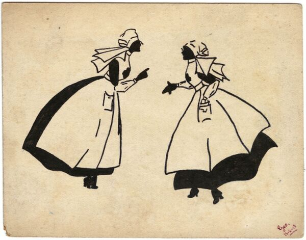 A simple and stylised illustration on a postcard by George Ranstead, an amateur artist of the Great War who served in the Army Pay Corps, depicting two nurses in discussion with billowing aprons and head scarves