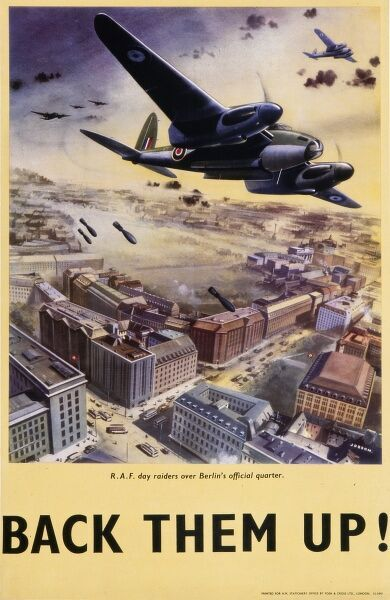 World War Two poster depicting British bombers (they look like the Bristol Beaufort) carrying out a daytime bombing raid on the city of Berlin