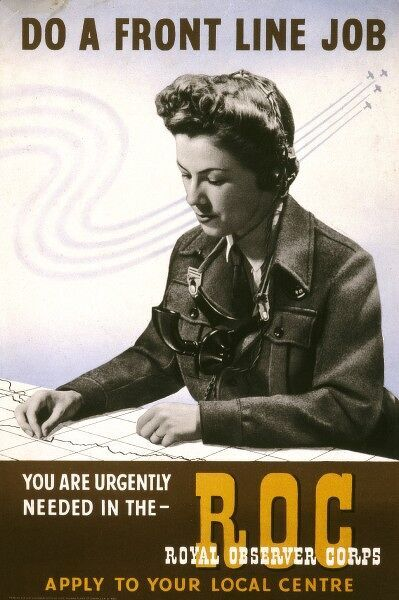 Poster from the Second World War encouraging women to join the Royal Observer Corps