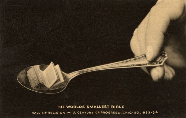 The World's Smallest Bible. Printed in 1895 by David Bryce & Son, Glasgow, Scotland, Brought to America by J