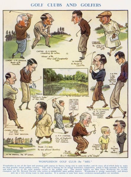 "Worplesdon golf course ""one of the prettiest golf courses in Surrey"" with caricatures of various members including Captain G.A. Moxon and A.P.F. Chapman"
