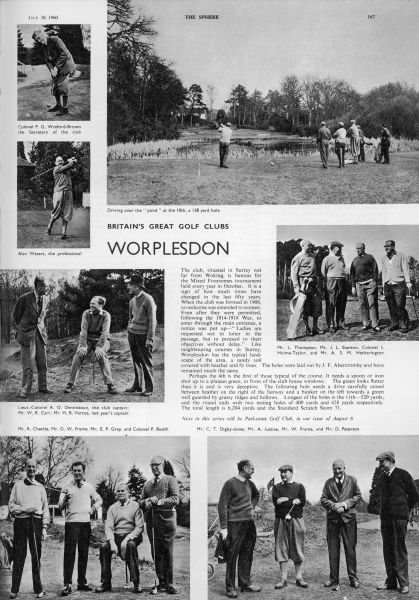 Page devoted to scenes of Worplesdon golf club during the 1960s