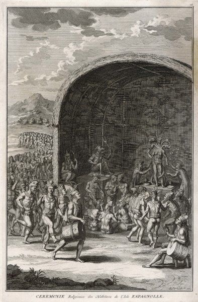 Religious ceremony of the inhabitants of Hispaniola, West Indies (today Haiti and Dominican Republic) - the god has heads of different animals, and a tail