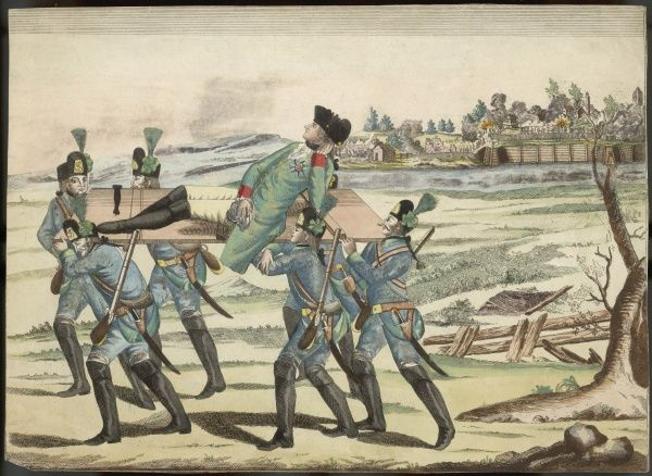 A wounded officer is carried off the battlefield by his men. The uniforms are German or Austrian, and this is probably an incident of the Seven Years War
