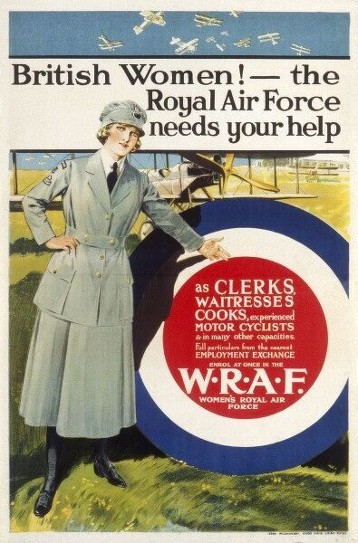 Poster for the Women's Royal Air Force, detailing the need for Clerks, Waitresses, Cooks, Experienced Motor Cyclists and 'in many other capacities' 1914-1918