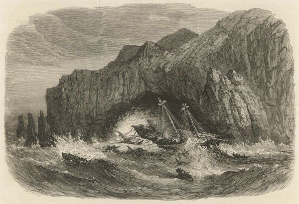 "The Wreck of the General Grant on the Auckland Islands, South Pacific Ocean. The ship was wrecked on May 14th 1866, a week after leaving Melbourne for London. 68 out of the 83 crew and passengers perished, ""the rest got ashore in boats"