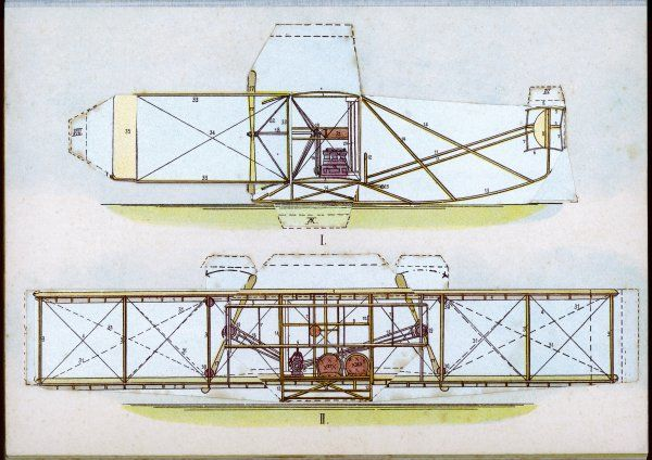 The Wright Flyer I in which the first powered flight is made at Kill Devil Hills, North Carolina
