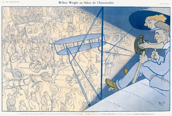 Wilbur Wright, aided by the dazzling clearness of his headlight views the overcrowded chaos in the steets below from the seat of his aircfaft. Date: 1908