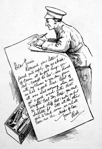 Advertisement for Wrights Coal Tar soap showing a British soldier (or 'Tommy'), writing a thank-you letter to his sweetheart. Parcels from home were eagerly anticipated with luxuries such as soap in great demand