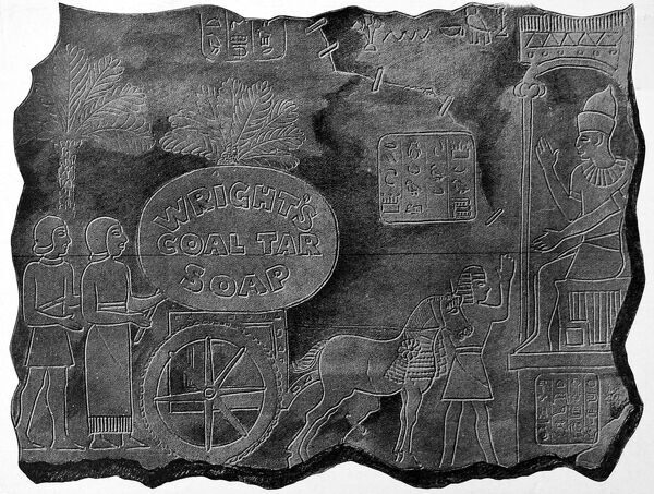 An advertisement for Wrights Coal Tar Soap in the style of Egyptian cave art
