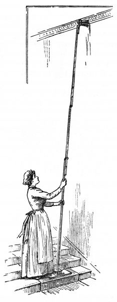 A handy wall brush with an oscillating head or duster enabling servants to clean cornices, walls or staircases without trying using a ladder