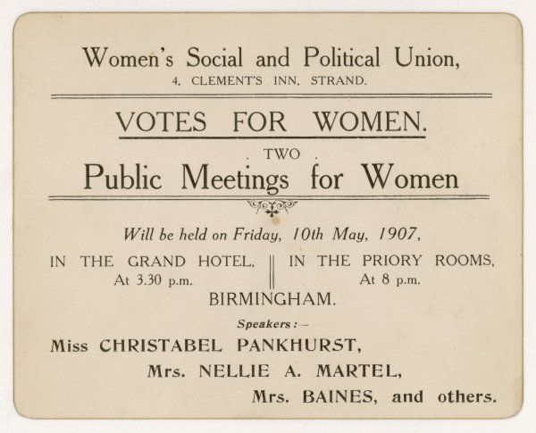 Christabel Pankhurst is one of the featured speakers at two public meetings held in Birmingham