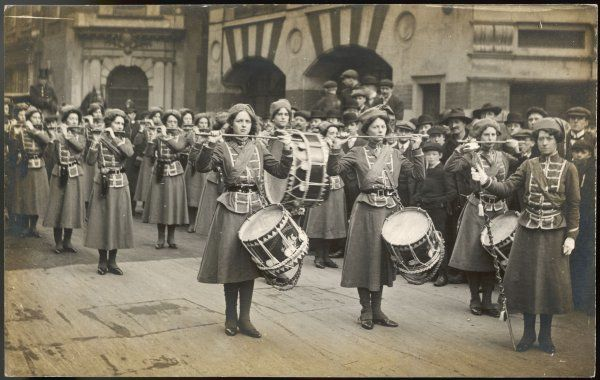 The WSPU Fife & Drum band with Mary Leigh as the drum-major. They were formed in 1909 to publicize the Women's Exhibition at the Prince's Skating Rink