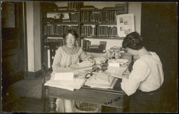 Christabel Pankhurst at a desk in the WSPU offices, St Clement's Inn, London