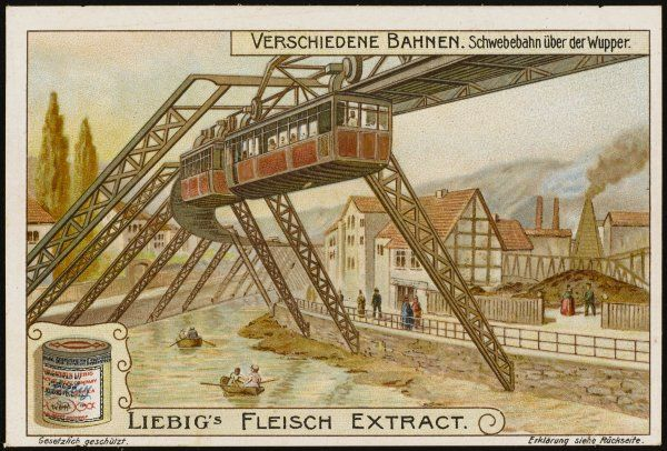 The Langen elevated railway which carries travellers over the Wupper at Wuppertal. The line is 13 km in length