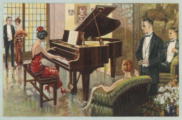 A lady delights her fellow- guests with her piano playing, enhanced by the tones of the Wurlitzer instrument her hosts have the good taste to choose