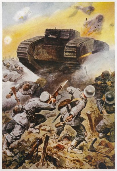 FIRST BATTLE OF THE SOMME British tanks are used in action for the first time, causing panic among the Germans
