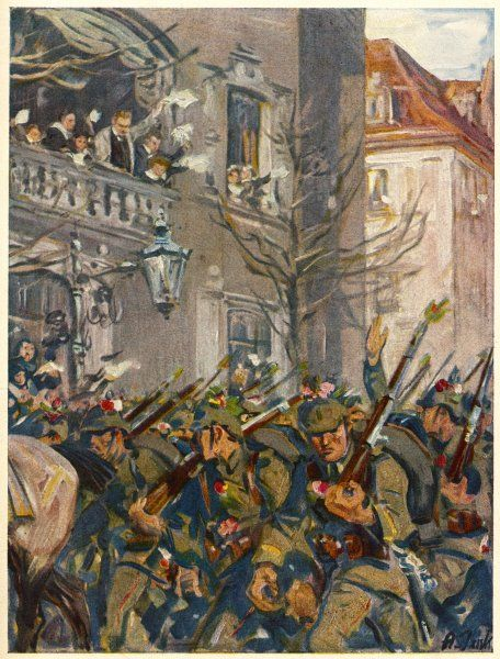 'DER AUSMARCH' German soldiers bombarded with flowers as they march off to the Front