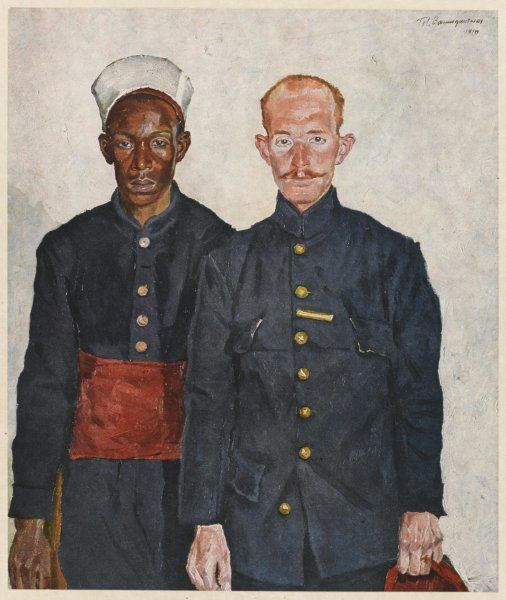 Two Algerians - one black, the other 'white', fighting with the French forces during World War One