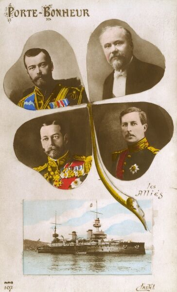 French Propaganda postcard from the early years of WW1 - The Allied leaders. King George V, Tsar Nicholas II of Russia, Albert I of Belgium and French President Raymond Poincare. This card was actually banned by the censor on the reverse! Date: 1915