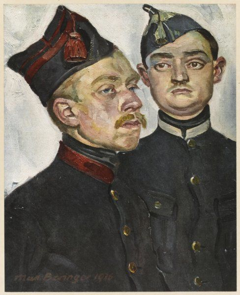 Two Belgian soldiers whose neutral country was invaded by the Germans at the outbreak of World War One