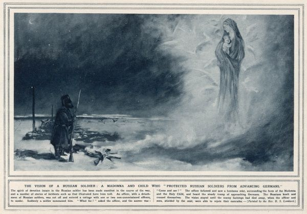 The Virgin Mary appears to some Russian soldiers in a cloud which conceals them from the Germans : they believe she was protecting them, and so must be on their side