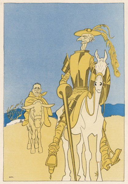 Sir Edward Grey as Don Quixote and Vittorio Emanuele as Sancho Panza (the former persuaded the latter to join the Allies)