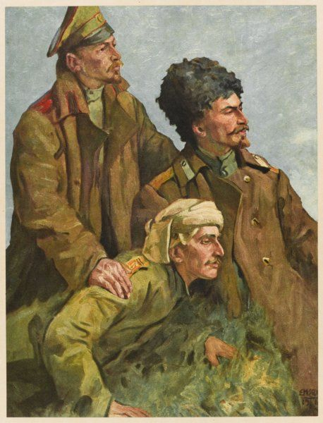 Three Georgian soldiers with the Russian army, fighting the Austrians during World War One