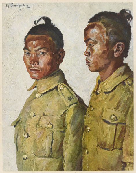 Two Gurkha soldiers serving with the Indian Army during World War One