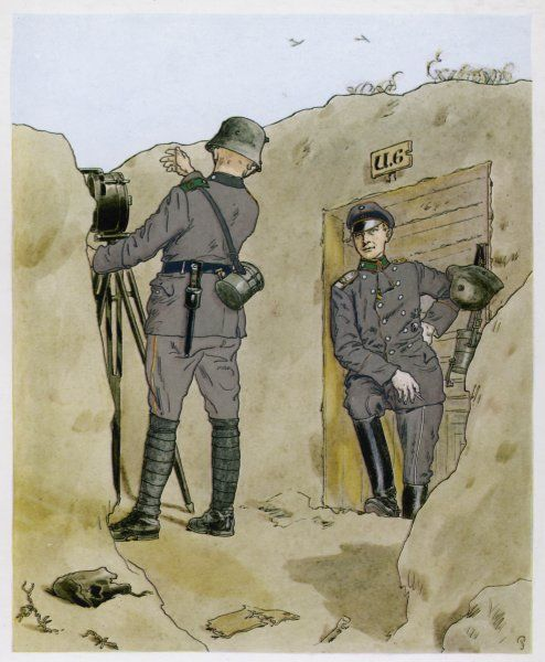 An officer of the Wurttemberg forces rests against the doorway of his dugout while one of his men sends a signal to a nearby regiment