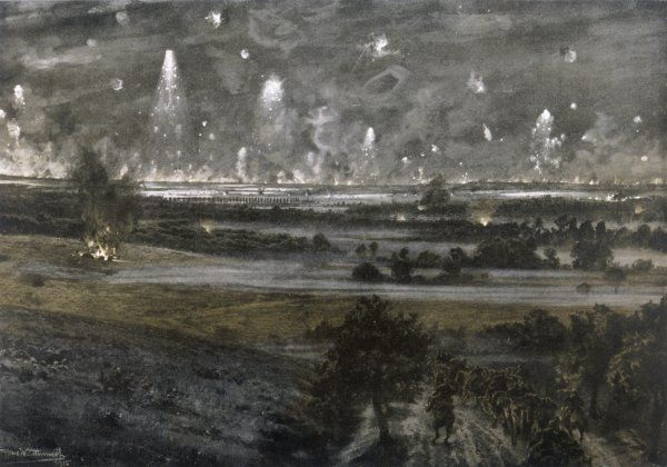 A distant view of the night- time offensive by the British and French forces at Champagne. Artillery and grenades light up the sky