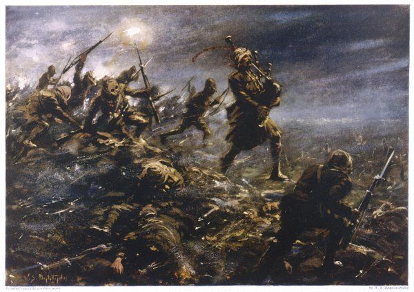 At Loos Piper Laidlaw rouses his colleagues, suffering the effects of a gas attack. He marches along the trench parapet, playing his pipes until wounded, earning a V.C