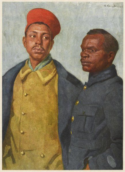 Two African soldiers, one from Somaliland, the other from Madagascar, serving with the French army during World War One