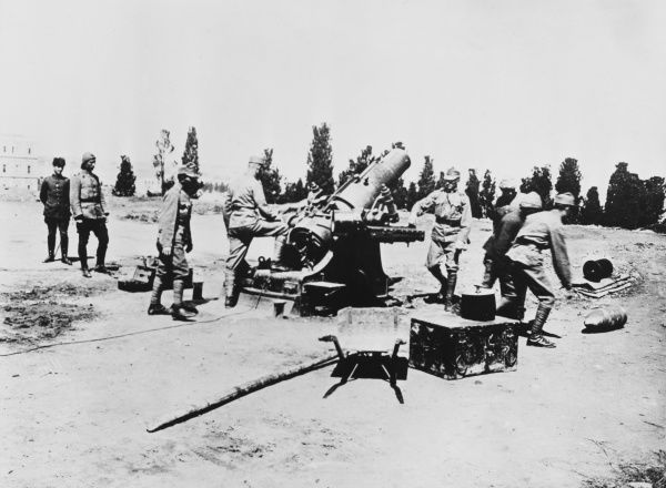 Possibly Turkish artillery at Gallipoli during World War I