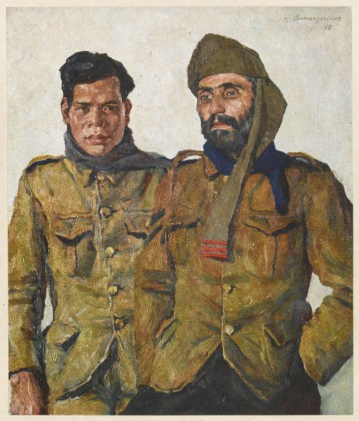 Two Asian soldiers, one from Malaya, the other from Baluchistan, serving with the Allied forces during World War One