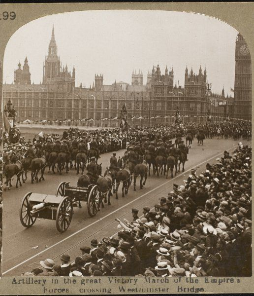 Artillery in the great Victory March of the British Empire's forces crossing Westminster Bridge