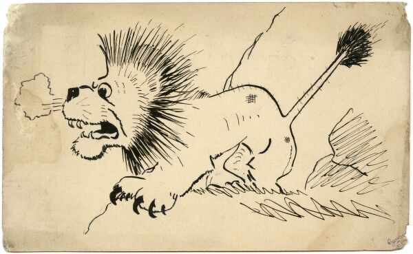 Hand drawn postcard by amateur soldier artist of the Great War, George Ranstead, featuring an angry looking British lion. circa 1916