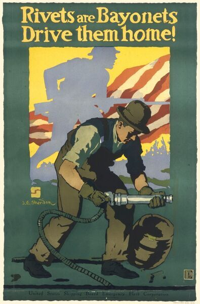 American propaganda poster from World War One encouraging people to join up either in the army or in industries towards the war effort