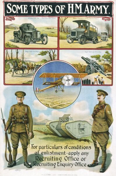 First World War recruitment poster featuring a private and an officer and pictures of various divisions - including the Royal Flying Corps, Tank corps, artillery & cavalry