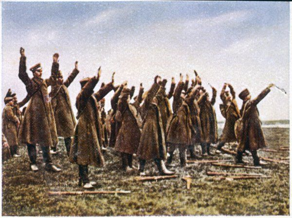 Russian troops surrender to the German army