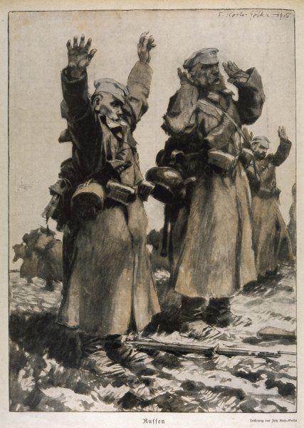 Russian soldiers surrender to the Germans