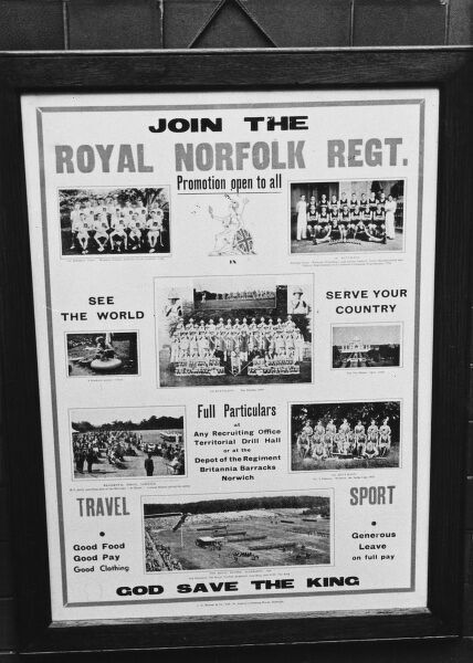 Royal Norfolk Regiment recruiting poster at a recruitment centre during World War II