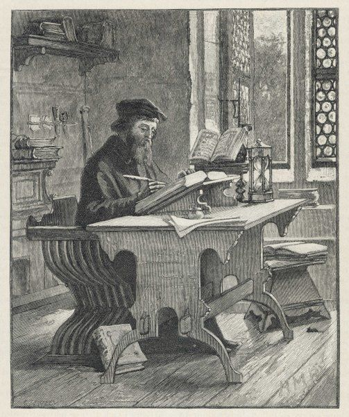 JOHN WYCLIF religious reformer, depicted writing