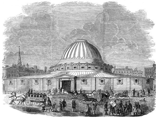 Engraving showing the building built for 'Wyld's Great Globe' in the early 1850's. This building housed a 10,000 sq. foot painting of planet Earth. During the Crimean War, the positions of the fighting forces of Britain, France