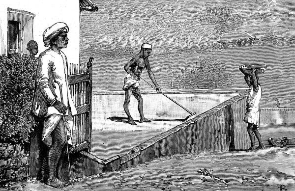 Engraving of servants sweeping and carrying coffee to the store on the Richmond Estate, where gold was found. Wynaad in the Malabar district of Madras was subject to many gold finds between 1876 and 1886